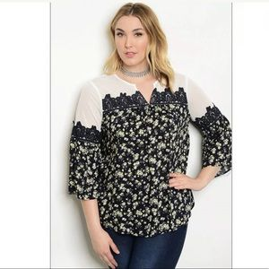 Plus Size Floral Print Illusion Blouse Top 2X NWT